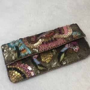 K. C. Malhan Sequin and Beaded Clutch Wallet